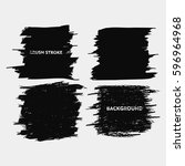 black brush stroke frame set... | Shutterstock .eps vector #596964968