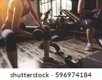 fitness people doing exercises... | Shutterstock . vector #596974184