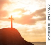 silhouette of cross   symbol of ... | Shutterstock . vector #596977370