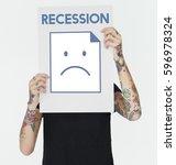 sadness fail problem recession... | Shutterstock . vector #596978324