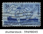usa   circa 1955  a stamp... | Shutterstock . vector #59698045
