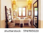interior of bathroom with...   Shutterstock . vector #596985020