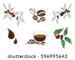 fresh coffee bean on with... | Shutterstock .eps vector #596995643