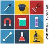 laboratory flat icon set . you...
