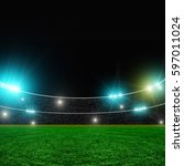 soccer stadium and beautiful... | Shutterstock . vector #597011024
