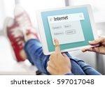 internet social platform network | Shutterstock . vector #597017048