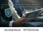 data security system shield...   Shutterstock . vector #597024146