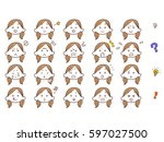 female face expression facial... | Shutterstock .eps vector #597027500