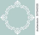 oriental vector light blue and... | Shutterstock .eps vector #597043520