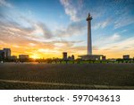 sunset in monument national... | Shutterstock . vector #597043613