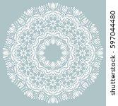 oriental vector round white... | Shutterstock .eps vector #597044480