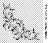 corner ornament in baroque style   Shutterstock .eps vector #597049568
