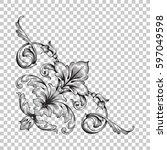 corner ornament in baroque style | Shutterstock .eps vector #597049598