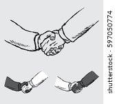 business handshake  partnership ... | Shutterstock .eps vector #597050774