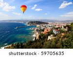 aerial view of the city of Nice and the harbor - stock photo
