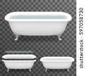 retro bath water realistic 3d...