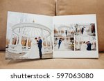 Small photo of Pages of elegant wedding album and photo book.