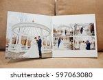 pages of elegant wedding album... | Shutterstock . vector #597063080