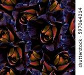 roses.seamless background....   Shutterstock . vector #597064214