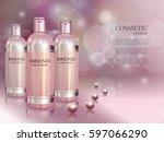 cosmetic ads poster. skin toner ... | Shutterstock .eps vector #597066290