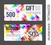 gift voucher template. can be... | Shutterstock .eps vector #597066320