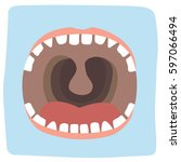 illustration of an open mouth... | Shutterstock .eps vector #597066494