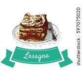 lasagna colorful illustration.... | Shutterstock .eps vector #597075020
