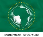 african union waving flag.... | Shutterstock .eps vector #597075080