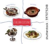 italian menu colorful...   Shutterstock .eps vector #597075248
