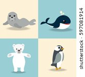 cute arctic animal collection | Shutterstock .eps vector #597081914