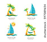 set of summer travel and... | Shutterstock .eps vector #597089654