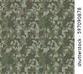pixel camo seamless pattern.... | Shutterstock .eps vector #597090878