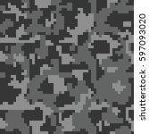digital pixel camouflage... | Shutterstock .eps vector #597093020