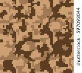 digital pixel camouflage... | Shutterstock .eps vector #597093044