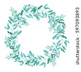 olive wreath isolated on white... | Shutterstock .eps vector #597093893