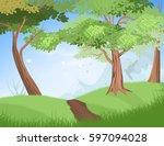 nature trees scene vector... | Shutterstock .eps vector #597094028