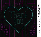 thank you day greeting card.... | Shutterstock . vector #597094676