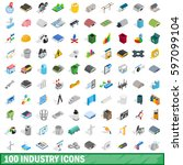 100 industry icons set in... | Shutterstock .eps vector #597099104