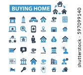 buying home icons | Shutterstock .eps vector #597099140