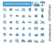 construction business icons | Shutterstock .eps vector #597099164