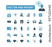 doctor and patient icons  | Shutterstock .eps vector #597102440
