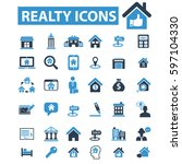 realty icons | Shutterstock .eps vector #597104330
