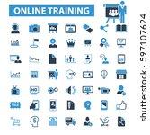 online training icons    Shutterstock .eps vector #597107624