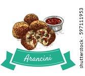 arancini  colorful illustration.... | Shutterstock .eps vector #597111953