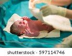 brand new baby.newborn baby... | Shutterstock . vector #597114746