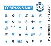 compass map icons | Shutterstock .eps vector #597116699
