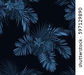 blue indigo tropical pattern... | Shutterstock .eps vector #597129890