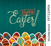happy easter greeting card.... | Shutterstock .eps vector #597133904