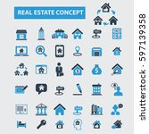 real estate concept icons | Shutterstock .eps vector #597139358