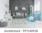 grey and white baby room with... | Shutterstock . vector #597140918